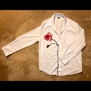 White Button-down With Red Rose